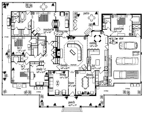 house plans with large bedrooms floor plans aflfpw13992 1 story farmhouse home with 4 bedrooms 3 bathrooms and 3 388 total