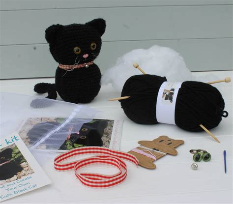 knit your own cat knit your own cat kit by yarn needles and thread