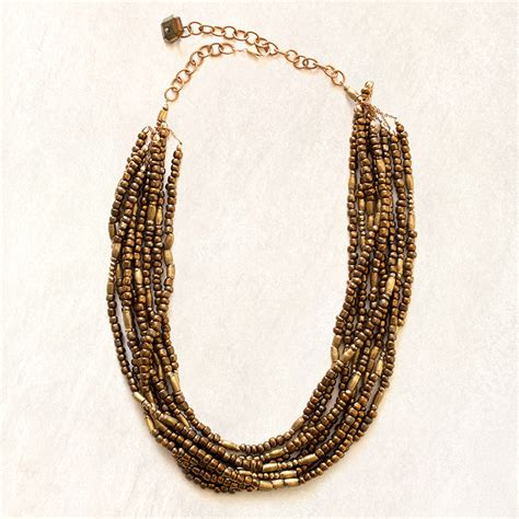 layered beaded necklaces avindy layered bronze beaded necklace womens apparel at