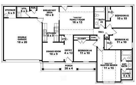 4 bedroom 2 bath house plans 4 bedroom single story house plans
