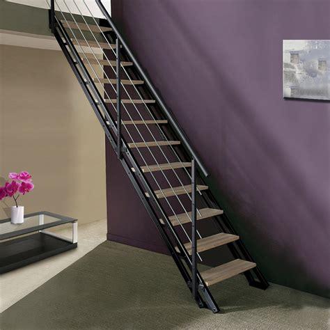 escalier modulaire escavario structure acier marche bois leroy merlin