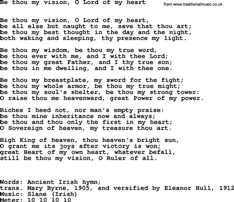 hymns ancient and modern song be thou my vision o lord of my lyrics midi and pdf