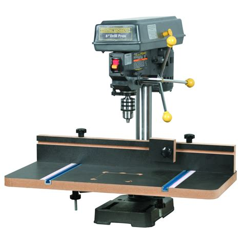 central woodworking drill press table with fence