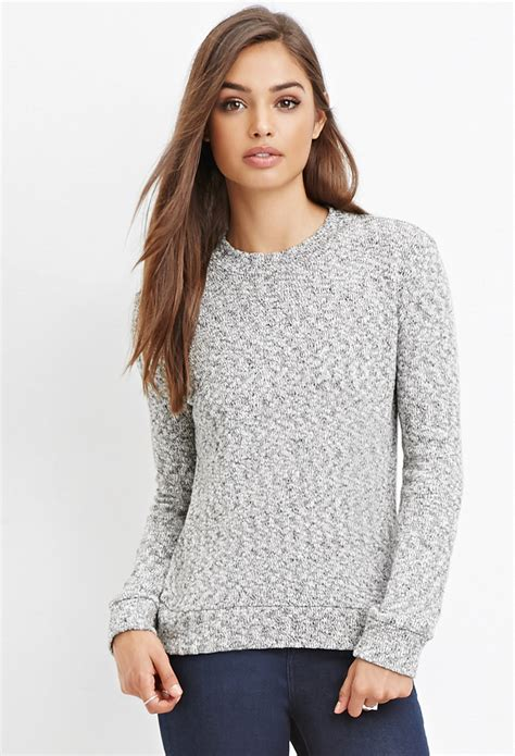 knitted sweaters forever 21 forever 21 classic marled knit sweater in black lyst