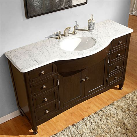 58 bathroom vanity sink silkroad exclusive 58 inch carrara white marble bathroom vanity contemporary bathroom