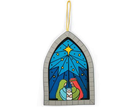 stained glass ornament kits 12 christian nativity foam stained glass style