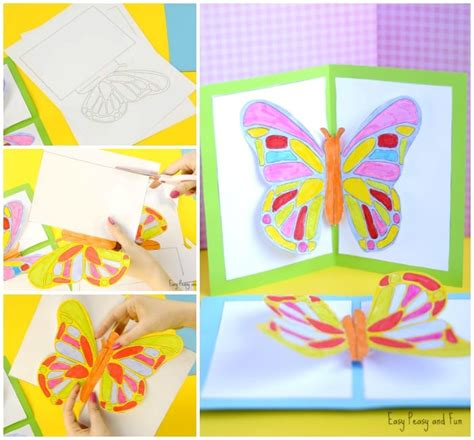 up cards diy butterfly pop up card with a template easy peasy and