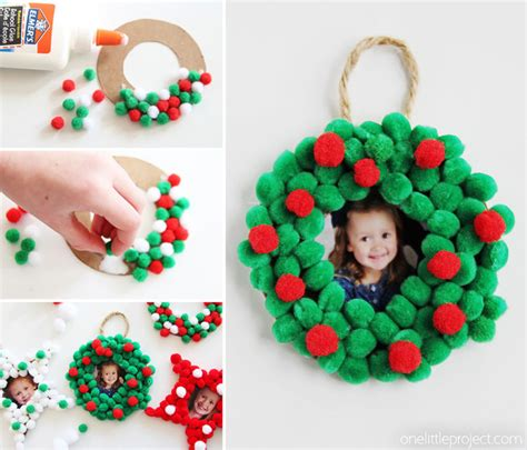 photo ornaments to make pom pom photo ornaments one project