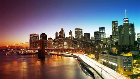 new york city 2017 bridge and the lights of new york city