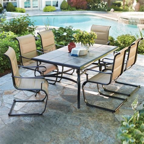 patio 7 dining set hton bay belleville 7 padded sling outdoor dining
