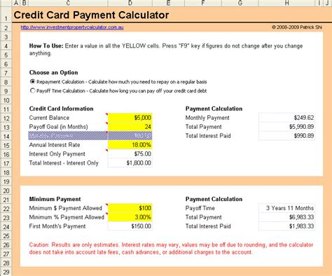 how to make payment to credit card free credit card payment calculator excel spreadsheet