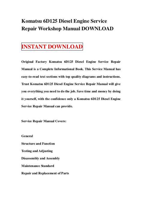service manual small engine repair manuals free download 1993 mitsubishi truck engine control komatsu 6 d125 diesel engine service repair workshop manual download