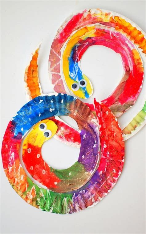 paper plates arts and crafts easy and colorful paper plate snakes beautiful