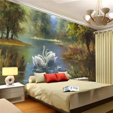 painting wall murals swan lake wallpaper 3d photo wallpaper custom wall
