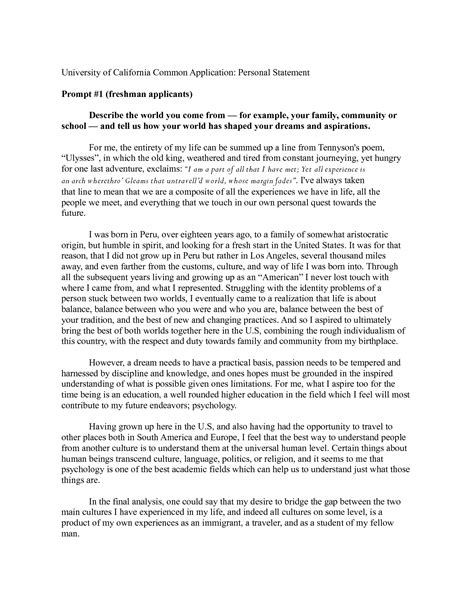 sample personal statement for msc admission cover letter