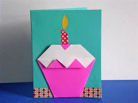 How To Make An Origami Cupcake Birthday Card Easy