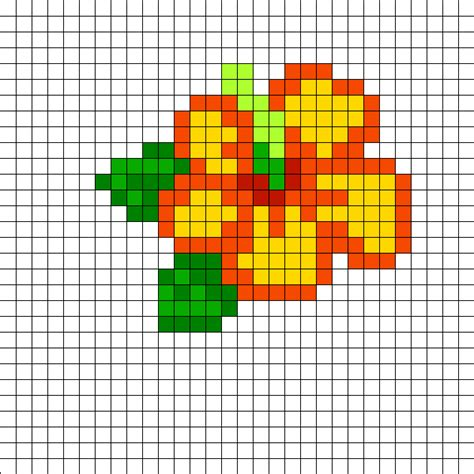 perler bead patterns easy hibiscus perler bead pattern bead sprites simple fuse