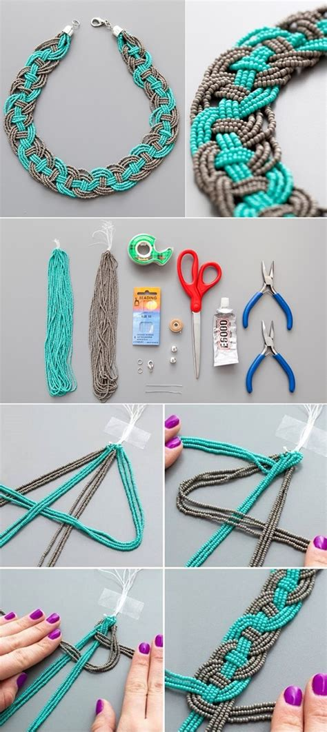 how to make beaded necklace with thread wonderful diy unique woven bead necklace