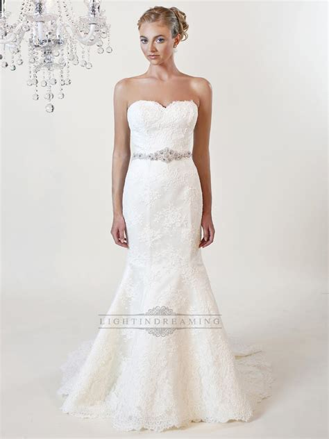 strapless beaded mermaid wedding dress strapless mermaid sweetheart lace wedding dresses with