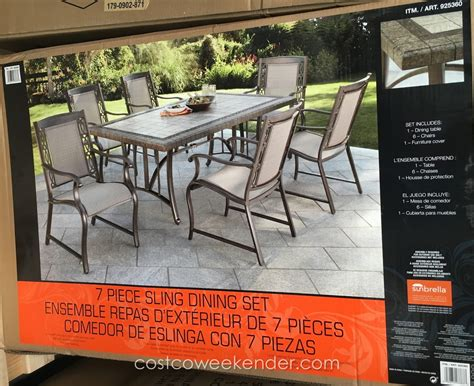 agio patio dining set agio international 7 sling dining set costco weekender