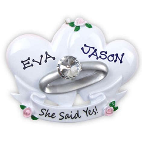 she said yes ornament wedding ornament she said yes engagement 235 or494