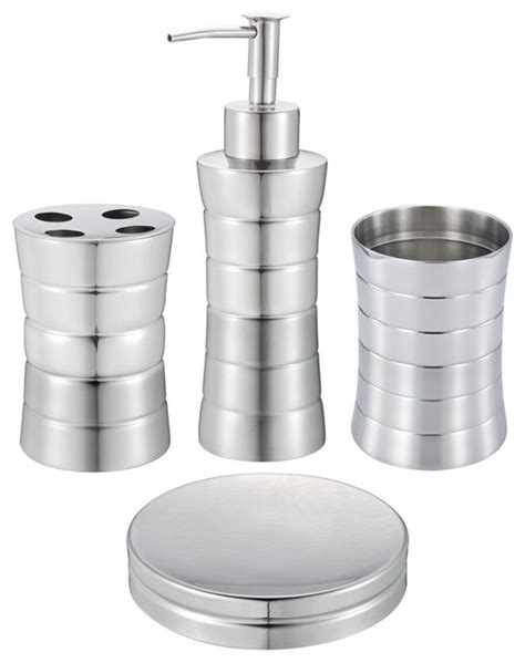 stainless steel bathroom accessories sets 4 bathroom set stainless steel contemporary