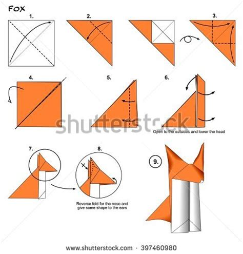 how to make a origami cheetah step by step how make paper hat tutorial stock vector