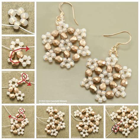 how to make bead earrings at home creative ideas diy beaded snowflake earrings
