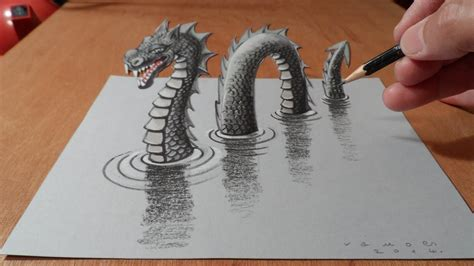 how to draw 3d how to draw drawing 3d loch ness by