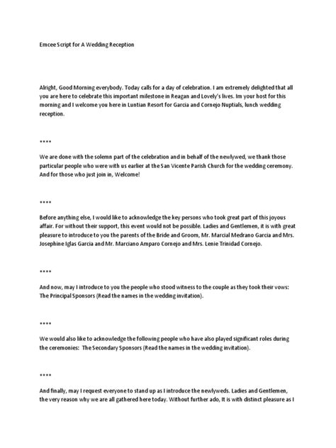 emcee script for emcee script for a wedding reception