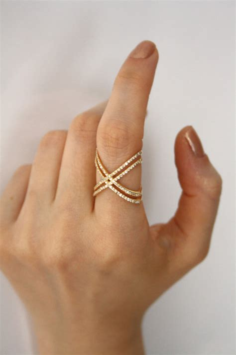 ring x gold x ring with cz stones engagement ring criss cross
