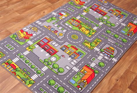 road rug children s rugs town road map city rug play mat ebay
