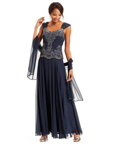 jkara beaded chiffon gown j kara beaded bodice chiffon gown and shawl in blue navy