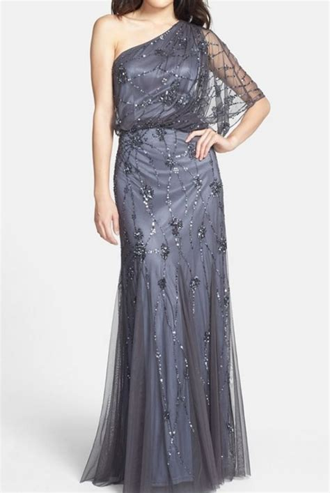 one shoulder beaded blouson gown papell beaded one shoulder blouson gown silver