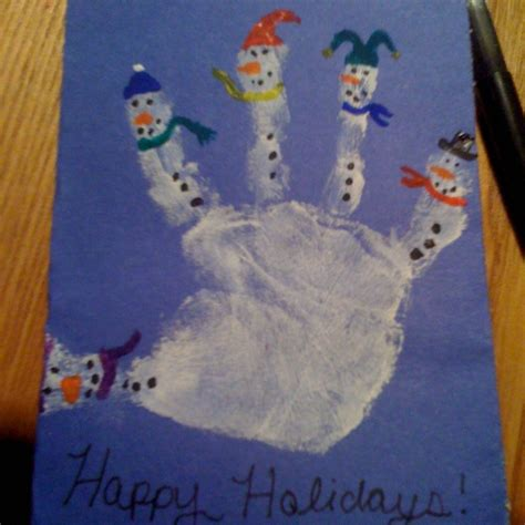 handprint craft for snowman handprint card winter