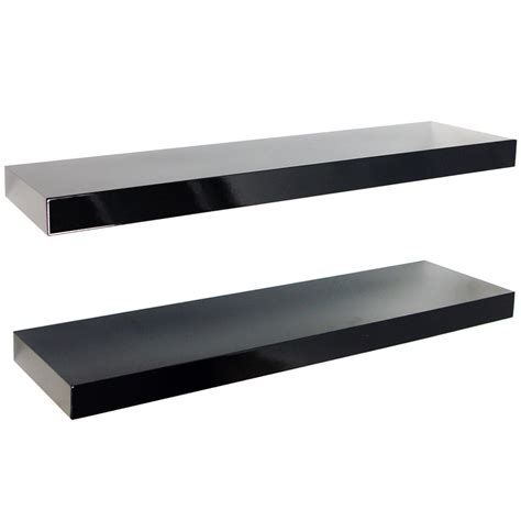 black shelves wall gloss wall mounted 70cm floating shelves pack of two