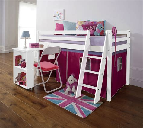 cabin bed with desk cabin bed mid sleeper with desk in white with pink tent