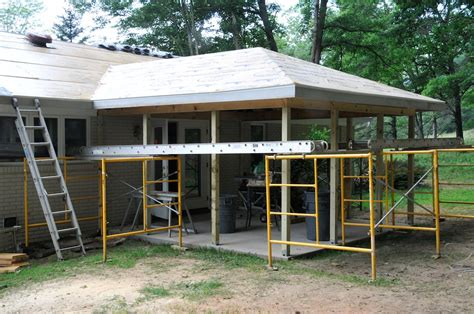 Building Screened Porch by Dried In And Ready To Tie In The Main Roof Shingles