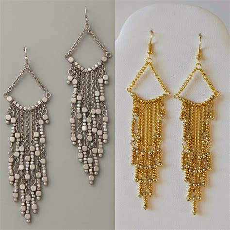 how to make chandelier earrings with diy gold chandelier earrings my girlish whims
