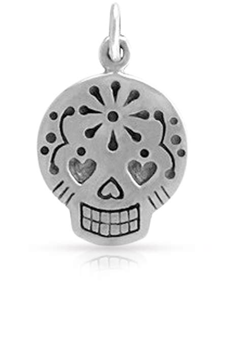 skull and charms sterling silver mexican sugar skull charm 20x12mm