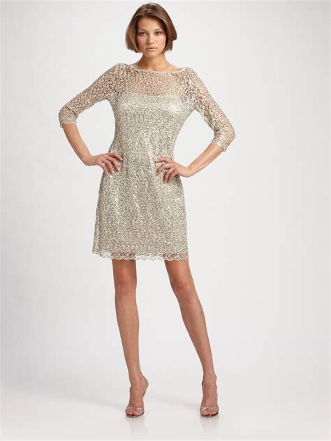 metallic beaded dress unger beaded lace dress in metallic lyst
