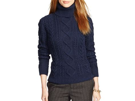 cable knit turtleneck sweater ralph cable knit turtleneck sweater in blue