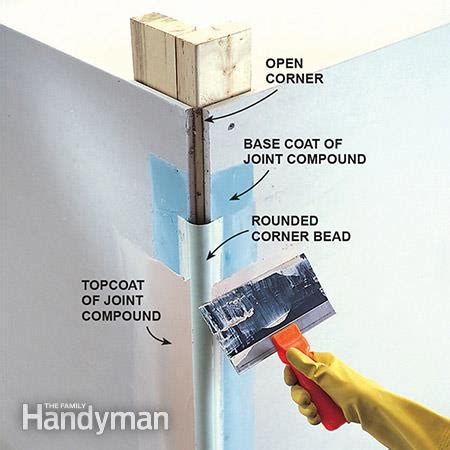 how to put on corner bead how to make bullnose corners the family handyman