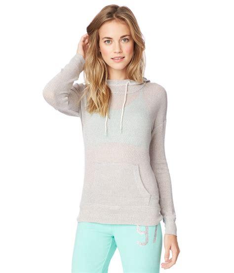 womens knitted hoodie aeropostale womens striped knit hoodie sweatshirt ebay