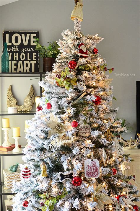 decorated flocked trees home tour tidymom
