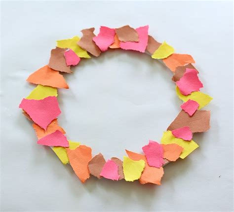 paper tearing craft fall crafts for tear fall wreath buggy and buddy