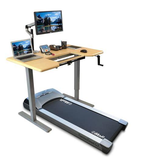 standing desk with treadmill thermotread gt desk treadmill by imovr ergocanada