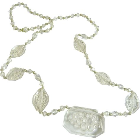 glass bead necklaces vintage clear carved glass bead necklace from ornaments on