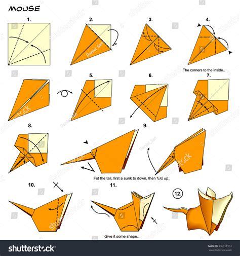 origami mouse diagram origami animal rat mouse diagram stock