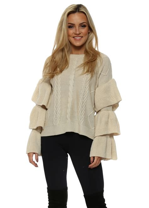 beige cable knit jumper beige cable knit frill sleeve jumper
